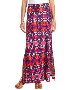 ikat print double slit maxi skirt
