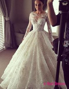White Wedding Dresses,Long Sleeves Wedding Gown,Lace Wedding Gowns,Ball Gown Bridal Dress,Princess Wedding Dress,Beautiful Brides Dress PD20183765