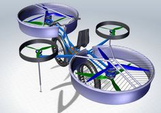 This proposed electric helicopter bike would allow a person to fly for short bursts at up to 30mph.