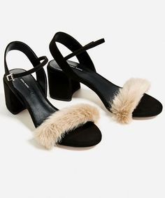 2c81720dfb47 Zara faux fur sandals Excellent used condition. Faux fur sandals with small  heel and buckle closure. ⭐️No trades