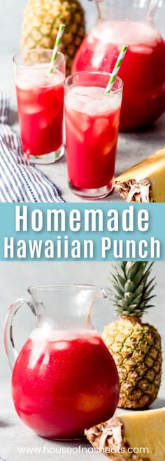 This tropical Homemade Hawaiian Punch recipe is a delightfully easy and refreshing non-alcoholic fruit punch that is perfect for any party or luau! You're going to want to make this all summer long! Non Alcoholic Fruit Punch, Fruity Alcohol Drinks, Drink Recipes Nonalcoholic, Easy Alcoholic Drinks, Summer Drink Recipes, Recipes Dinner, Pasta Recipes, Crockpot Recipes, Soup Recipes
