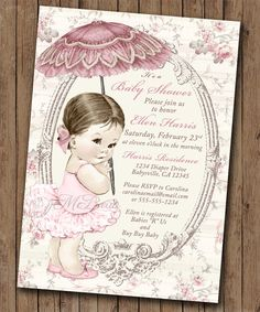 Girl Baby Shower Invitation Shabby Chic Floral Vintage Baby Shower Invitation For Girl - blush rose and taupe