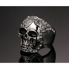 Vintage Europe Silver Plated Simulated Diamond Skull Rings Party King Men Ring Rock Punk Horrible Rings Who like it ? #Jewelry #shop #beauty #Woman's fashion #Products