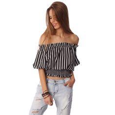 Black crop top in stripe with off shoulder - KIMLUD.COM | A LIFESTYLE - FASHION MAGAZINE & SHOP - 1