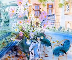 Our House at Montsaunes. / Notre maison à Montsaunes. /  Watercolour on paper. / Aquarelle sur papier. / By Raoul Dufy, 1943.