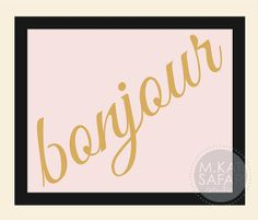Bonjour  Pink and Gold  INSTANT DOWNLOAD by mkatsafar on Etsy, $3.00