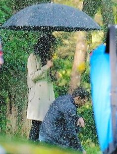 Dakota Johnson and Jamie Dornan filming Fifty Shades Freed in Vancouver Cemetery April 26