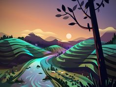 These landscape illustrations from The Road Trip project was created by Ranganath Krishnamani. He is a designer and illustrator based in B. Music Logo Inspiration, Design Inspiration, Landscape Illustration, Digital Illustration, Behance, Roadtrip, Simple Art, Super Simple, The Road