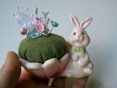 Bunny Pincushion & Decorative Straight Pins by CornOnMacabre, $8.00