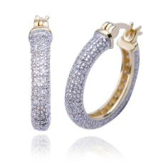 "18k Yellow Gold Plated Sterling Silver Pave Simulated Diamond Pave Hoop Earrings (0.8"" Diameter) Amazon Curated Collection. $74.00. Made in China. Gemstones may have been treated to improve their appearance or durability and may require special care."