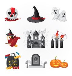 Halloween icons design vector by pongsuwan on VectorStock®
