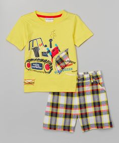 This Buster Brown Yellow Construction Tee & Plaid Shorts - Infant & Toddler by Buster Brown is perfect! Baby Boy Outfits, Kids Outfits, Junior Girls Clothing, Cute Baby Clothes, Babies Clothes, Summer Boy, Plaid Shorts, Kids Pajamas, Boys Shirts