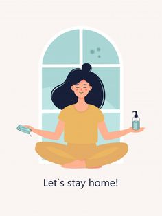 Woman sits in lotus position at home wit. Illustration Vector, Character Illustration, Art Drawings For Kids, Cute Drawings, Graphic Design Templates, Vector Design, Adobe Indesign, Design Isométrico, Lotus Position