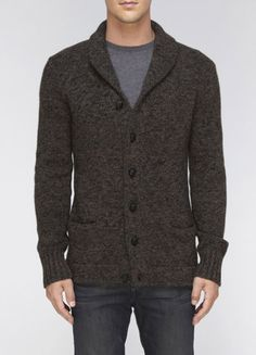 Tweed Shawl Collar Cardigan. Finely finished with a vintage-inspired details like a cozy shawl collar and leather-braided buttons. Ribbed trim. $335