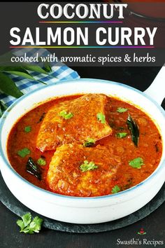 Salmon curry is a delicious Indian dish made by simmering salmon in a hot and sour coconut gravy. Tastes amazingly delicious and goes well with rice, paratha or naan. #curry #seafood #indianfood #salmoncurry Salmon Curry, Spicy Salmon, Fish Curry, Salmon Recipes, Seafood Recipes, Indian Food Recipes, Ethnic Recipes, Salmon Meals, Prawn Recipes