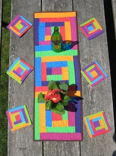 quilt table runners, mini quilts, cabin runner, happy colors, log cabins, quilt blocks, quilt coaster, bright colors, cabin quilt