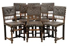 Embossed Leather Chairs, Set of 8 Renaissance, Leather Chairs, Interior Design, Board, Table, Agoura Hills, Furniture, Tudor, Kings Lane