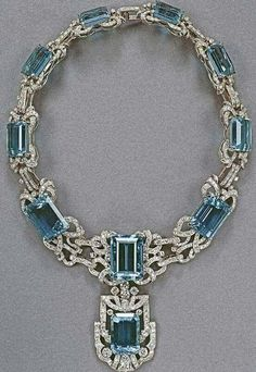 Queen  Elizabeth's Aquamarine and diamond  necklace