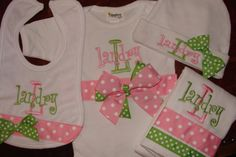 Love this monogrammed set by Magabys on Etsy...in Frisco!! Want the onesie, cap, pacifier clip and diaper cover! Have to deide on baby girl's name first!