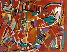 Lithographie - Andre Lanskoy - Composition rouge
