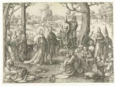 Lucas van Leyden | De dans van Maria Magdalena, Lucas van Leyden, 1519 | In een landschap danst Maria Magdalena met een man op de muziek van een fluitspeler en trommelaar.  Rechtsvoor twee minnende paren, zittend op de grond. In landschap op de achtergrond Maria Magdalena te paard tijdens de jacht en in de lucht de hemelvaart van Maria Magdalena, omgeven door vier engelen.