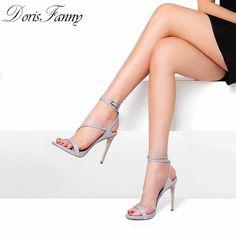 Grey Sandals, Grey Shoes, Cute Shoes, Women's Shoes Sandals, Leather Sandals, Hot High Heels, High Heels Stilettos, Womens High Heels, Frauen In High Heels