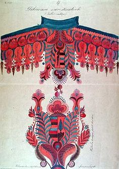 Watercolor study of traditional Hungarian peasant costume embroidery (late century) by Josef Huzska. via florizel Hungarian Embroidery, Folk Embroidery, Learn Embroidery, Chain Stitch Embroidery, Embroidery Stitches, Embroidery Designs, Stitch Head, Contemporary Decorative Art, Budapest