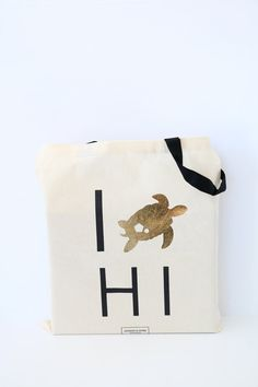 Hawaii Bachelorette Totes with Gold Tortoise by AnthonyandStork