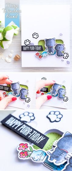 Create fun interactive window card using the Cool Cat stamp set from My Favorite Things. Project by @yanasmakula