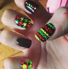♆ rad nail art | #jamaican #summer #rasta