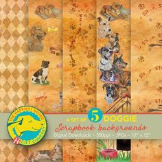 Set of 5 Doggy Scrapbook backgrounds Canine Digital Paper Dog Scrapbook, Scrapbook Background, Digital Scrapbook Paper, Cute Fluffy Puppies, Dog Pattern, Dog Memorial, Dog Portraits, Scrapbooking Layouts, Pattern Paper