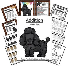 Quick and Easy Center and Printables - Addition Make Ten - Puppy Themed #TPT $Paid