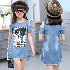 Children Dresses For Girls Denim Dress Strapless Dress Pattern Girls Clothing Short Sleeve Child Clothes Denim T-Shirts