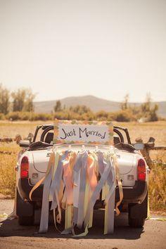 35 Cool And Creative Wedding Getaway Car Decor Ideas - Weddingomania Wedding Car Ribbon, Wedding Bells, Wedding Day, Wedding Stuff, Wedding Getaway Car, Utah, Just Married Car, Bridal Car, Wedding Car Decorations