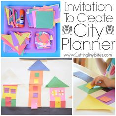 Invitation To Create: City Planner. Open ended creative construction or building paper craft for kids. Great for fine motor development. Perfect for preschoolers, kindergarteners, and elementary students, and allows exploration of shapes and colors.