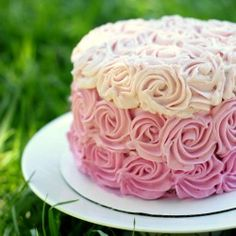 Learn how to frost an ombre rose cake in 10 minutes with an easy video tutorial