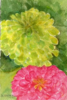 Zinnias painting original watercolor pink and by SharonFosterArt, $18.00
