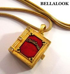 VINTAGE CHRISTMAS BOOK CAROLERS RED BLUE ENAMEL RHINESTONES PENDANT NECKLACE #PENDANT
