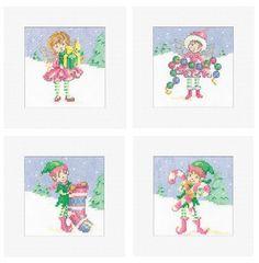 Set of 4 Fairy Christmas Cards - Maria Diaz cross stitch kit