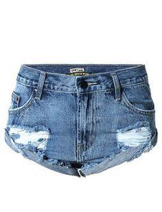 Trendy Ripped Mini Denim Shorts in Fringe