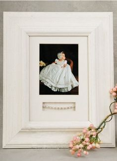 Frame color: white or antique silver frame & mat, bracelet not includedAvailable mat colors: blue, pink, whiteMat measures wide by highDisplays a 3 wide b… Christening Gowns For Boys, Baby Christening Outfit, Baptism Gifts, Christening Gifts, Bracelet Display, Frame Display, Thoughtful Gifts, Boy Or Girl