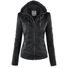 LL Womens Hooded Faux leather Jacket (66 BRL) ❤ liked on Polyvore featuring outerwear, jackets, tops, coats, biker jackets, hooded jacket, hooded biker jacket, motorcycle jacket and faux-leather moto jackets