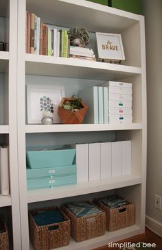 stylish home office bookshelves // simplified bee
