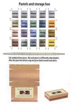 Miniature artist pastels and storage box to print and use with cut-up toothpicks that have been dipped in paint