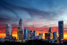 Skyline photography of the Charlotte NC downtown center city. Photo taken in December 2012 from the northeast edge of town (off Brookshire F...