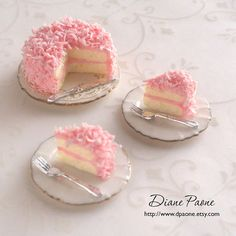 Pink Coconut Cake - Dollhouse Miniature Food