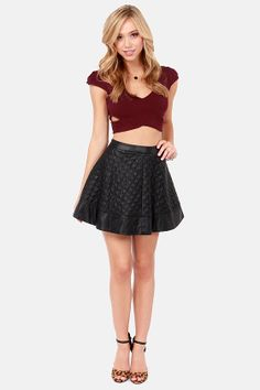 Reach the Peek Wine Red Crop Top at LuLus.com! vegas outfit?  love the skirt