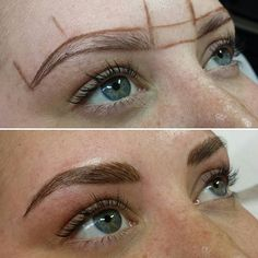 Microblading brows before after Eyebrow Shaper, Eyebrow Brush, Brow Shaping, Eyebrow Shading, Beauty Makeup, Eye Makeup, Hair Makeup, Hair Beauty, Permanent Eyebrows