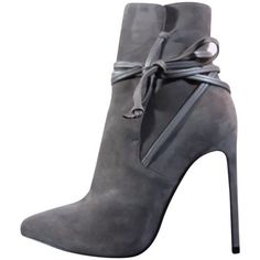 Pre-owned Saint Laurent Suede Leather Lace (40.5eu/10us) Gray Boots ($723) ❤ liked on Polyvore featuring shoes, boots, ankle booties, grey, suede bootie, suede ankle booties, ankle boots, gray booties and lace booties