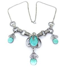 Vintage Czech Art Deco Silver Filigree Peking Glass Necklace | Clarice Jewellery | Vintage Costume Jewellery
